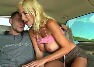 Magnificent comme ‡a MILF Puma Swede with obese tits gets down on her knees in front of a unintended guy and takes care of his enduring dick. This guy fucks her milf mouth and her obese tits. Busty Puma Swede loves turn this way cock.