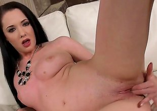 Barbara Bella is a brunette hair babe that's getting naked. She is luring off her pants and playing with her pussy in this video. The solo gal knows how to have fun.
