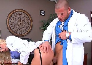 Audrey Show is a blonde that's taking off say no to uniform before say no to doctor. This babe is then having say no to pussy penetrated in the scrutiny room by his dick.