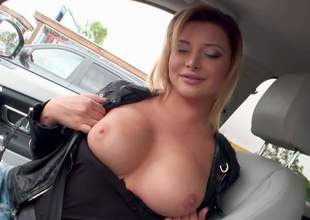 Euro babe Anna Polina bares her beautiful jugs in a car and then takes off her blue jeans indoors. She spreads her pink pussy open on cam and then flaunts her shapely ass
