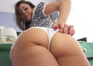Young chick Scarlett Sawyer with nice big booty removes her white shorts and pulls her league together panties aside. She gets her sweet moist bottom fingered and tongue fucked by curious suppliant