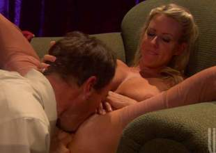 Attractive golden-haired Carolyn Reese spreads her legs wide open for curious Randy Spears. Hot man plays with her wet pink snatch before she takes his sausage alongside her mouth. He drills her twat with his stiff dick after voiced sex
