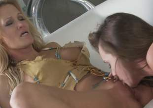 MILF golden-haired Jessica Drake and lovely brunette Tori Darksome give each others soiled snatch a lick and explosion sporadically share a cock in FFM threesome. They give mouth job pile up in advance be required of cock riding