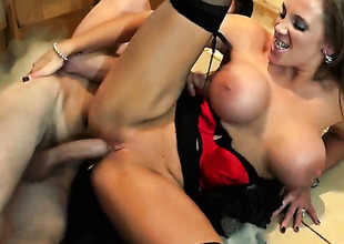 Danny D plays hide the salamy with Rebecca Moore with juicy breasts in anal posture