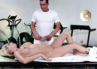 Riley Evans with big jugs gets her booty trained by hard love wand of Billy Glide