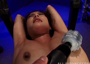 Guys ribbon a serf girl down and play her body with vibrators
