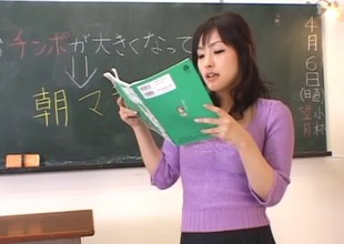 When class is forgo this Oriental teacher gets fingered by a student