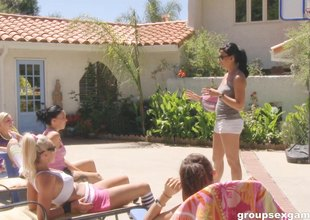A group of hawt girls acquire naked off out of one's mind the pool and have some joy