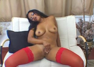 Sexy red stockings upstairs this naughty masturbating black girl