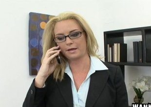 Naughty MILF has her face and glasses covered in goo
