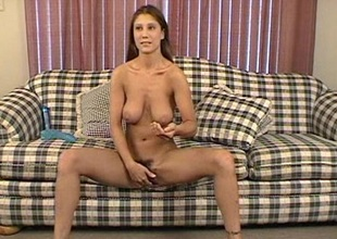 Randy brunette solo model toy fucking her tight pussy
