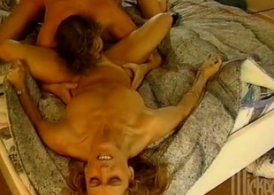 An incredible retro action featuring blondes getting drilled in a FFM scene