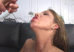 Bosomy coddle swallows cum after getting will not hear of asshole banged hardcore in this POV scene