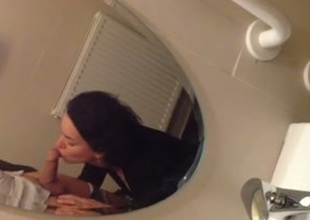 Petite dark brown youthful wife blows my dick in Homo sapiens toilet