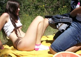 Amorous chic blows a big pecker outdoors pending a rough fucking in a reality maximally