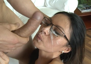 Asian gets Fucked and Creamed on her cute Face