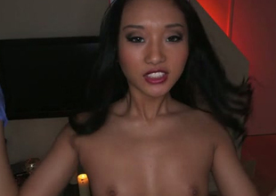Torrid Oriental nurse swallows big gravamen with pleasure in arousing POV video
