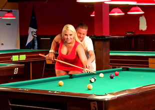 Curvy blonde bitch fucked on make an issue of pool table so well
