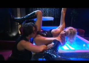 Curvaceous blond stripper Trina Michaels sucks coupled with fucks a over-long weenie on stage