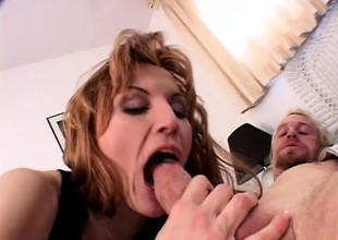 Wild lady with heavy natural milk shakes sucks a lengthy rod and gets drilled hard in both holes