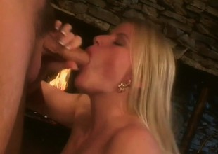 Self-confident fair-haired muff is surprising her follower groupie with mouth and tongue