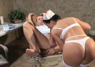 Nurse relieves a patient of his hard boner with her wet cunt
