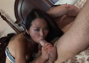 Slim Asian pamper with a sweet ass Nyomi Zen fucks a big rod not susceptible the ottoman