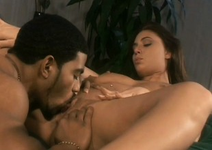 Vivacious dark brown with big boobs fulfills her sexual desires with a darksome flannel