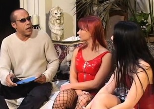 Katja and Renee getting their fiery holes fucked hard by a felonious guy