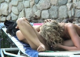 Impressive Latina engages in passionate lesbian sex with a sultry blonde