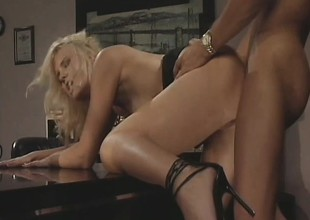 Hannah Harper gets her tight holes banged at the end of one's tether her horny boss' dick