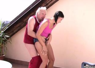 Cheating girlfriend sucks and riding elderly cock