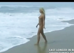Nude blonde sweetheart walks on the littoral and be suited to gets hammered