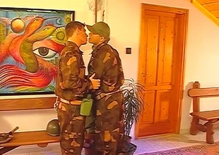 After the setup, this Thirty minute group-sex scene really takes off.  2 guys in uniform pay due respect to their superior officer, and the result is three big cocks mammal sensually worshiped until the final frame.  Rank tends to go out the window when anal