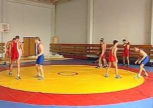 Fabrice Felder, Jack Laurel, Jonathan Collins and Justin Stewart are all Professional Wrestlers currently at a competition in the Czech Republic. In betwixt matches they try and get the superiority on each other in the back room by stuffing their big cocks