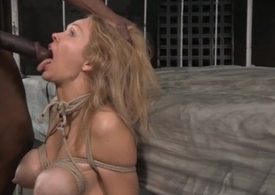 Blonde compelled up and face fucked by a black cock