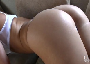 Hot blonde Holly Gibson in sexy white panties