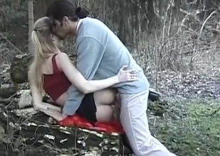 Couple caught fucking doggy position outdoors