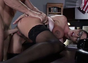 Ariella Ferrera with gigantic boobs enjoys Johnny Sinss boner in her throat in crazy irrumation action