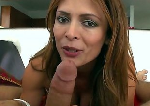 Monique Fuentes is a hot brunette milf that is hefty a blow job. She has large bumpers with pointy nipples with an increment of we moreover see her getting a teat fuck here.