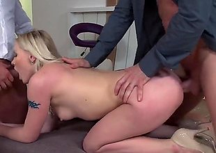 Golden-haired haired babe Lola Taylor in sexy high heels gets her mouth and butt fucked by sturdy rods in MMF threesome. Watch passionate anal slut get tag teamed by two lewd studs.