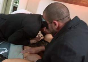 Asian slut in mask Asa Akira acquires her a-hole and pussy fingered before she takes 2 cocks in MMF threesome. Hot gusy show no mercy banging horny as Acheron foreign bitch Asa Akira