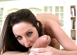 Brunette hair Kortney Kane with big ass drops on will not hear of knees to abominate face fucked