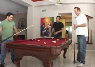 Pool players team up and fuck Sandra Romain in a hot anal threesome