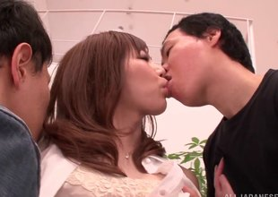 Dirty Japanese MILF getting tag teamed by 2 animated guys
