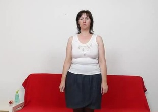 Mature European bitch just about stockings dildoes her aching puristic pussy