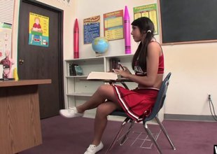 Cheerleader shows her school pride by banging a teacher