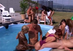 Completed fuckfest by the pool with tremendously hawt Hungarian harlots