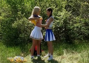 Splendid girls enjoy licking together with toying their cunts outdoors in a hot lesbians scene