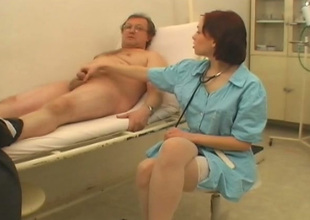 Sexy care Alicia is sucking her patient's juicy penis